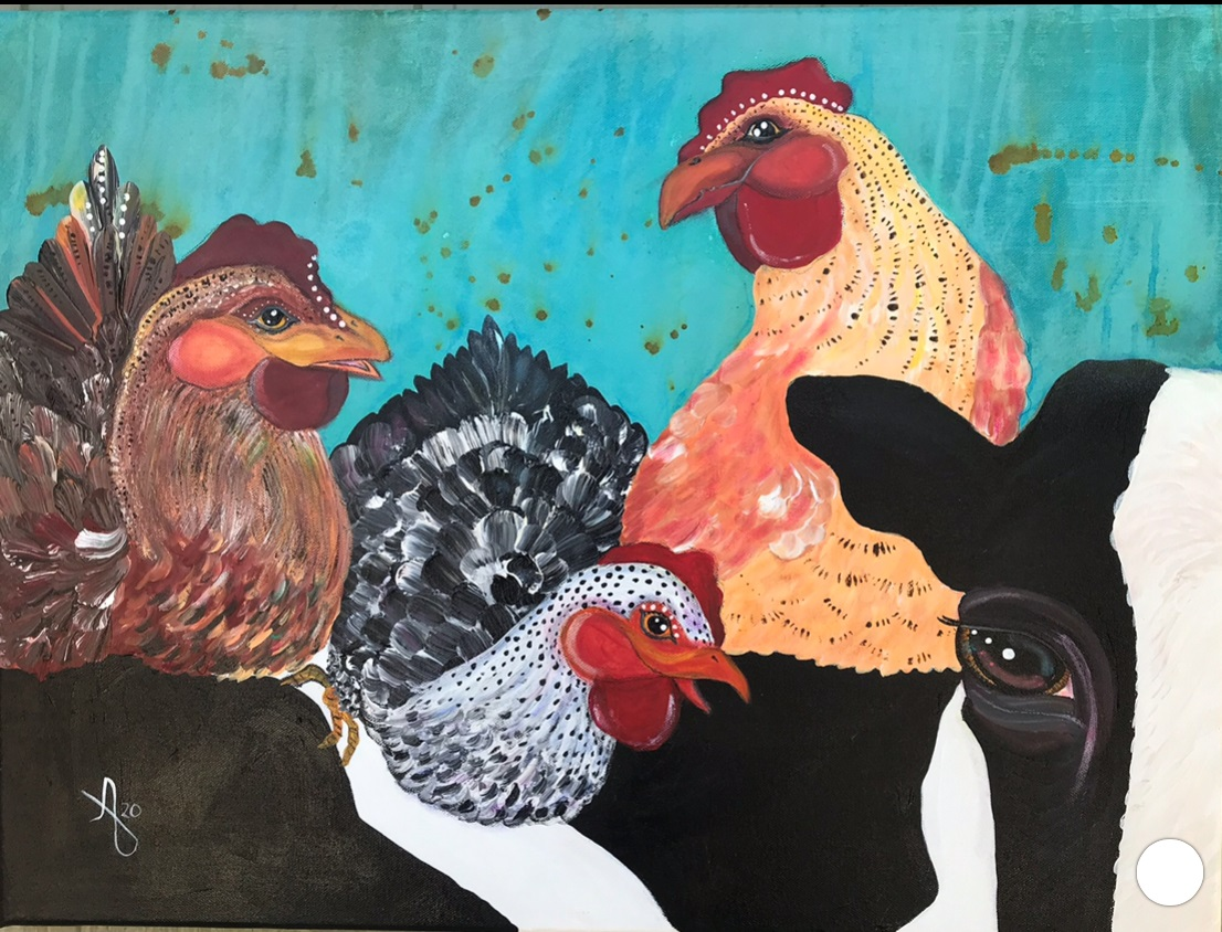 """""""Cluck, Cluck Moo!"""" Original $80 (also available in framed print $59) Acrylic, Pastel, Ink and Grease Marker."""