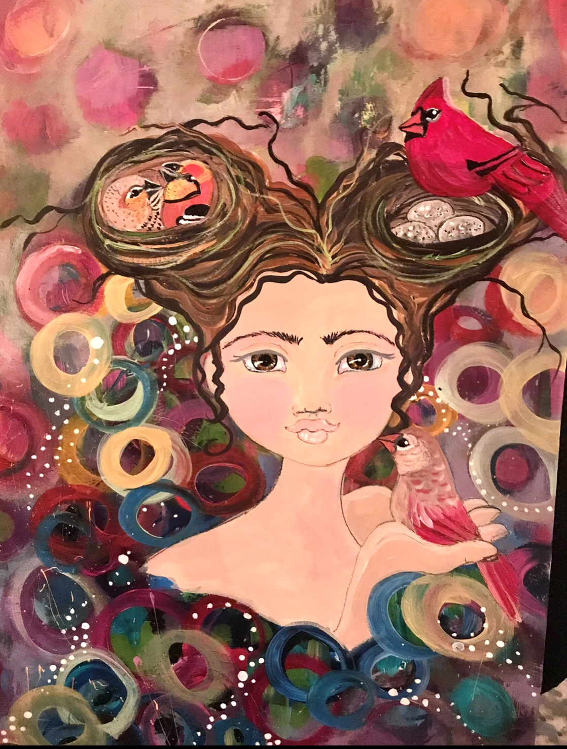 """""""The Auras of Cicily Wren"""" (Framed Print Only) $70 Acrylic, Pastel, watercolor crayon, grease marker, pencil."""