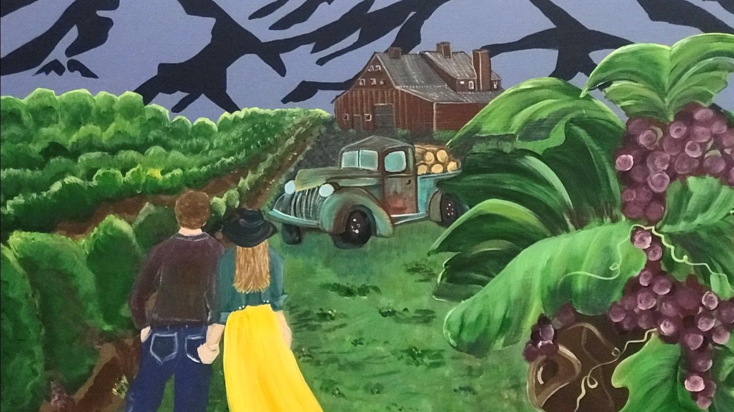 """""""Vineyard Dreams"""" Original Acrylic, Colored Pencil. $200"""