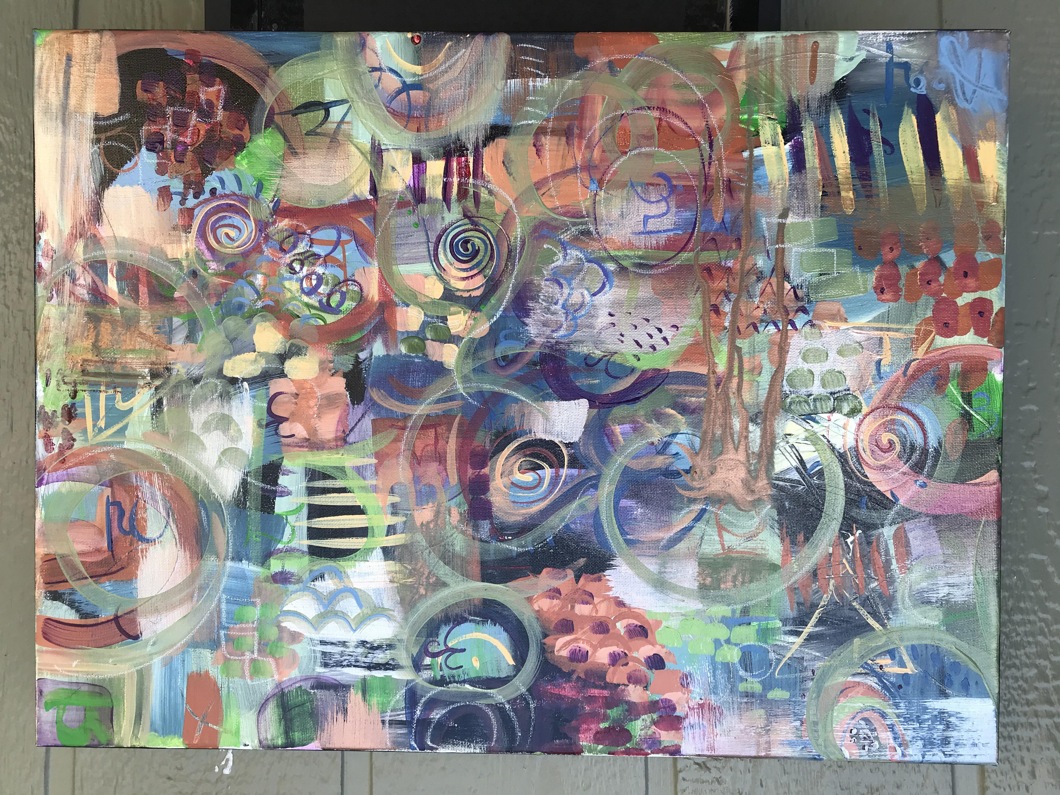 """""""Warm Chakras"""" Original $100 Acrylic, acrylic glaze, pastel, watercolor crayon, grease marker"""