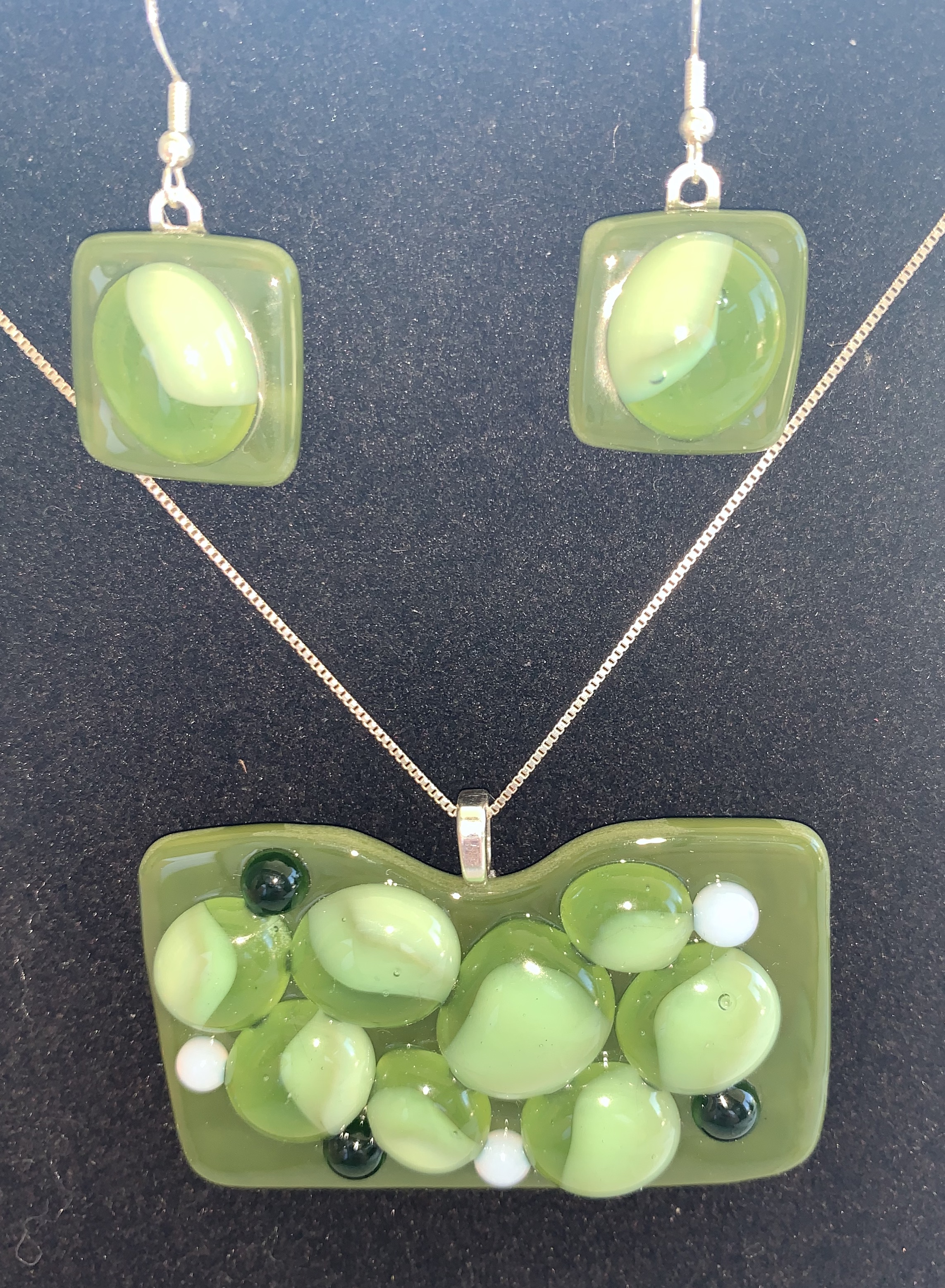 Green Necklace and Earrings - $42 Set