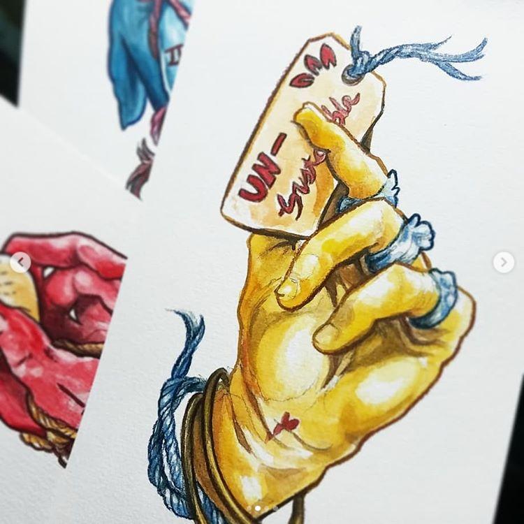 Pigs Feet 3 - 5 x 7 - Gouache & Colored Pencil - $75