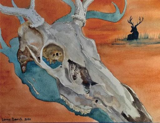 At Last, Deer Yorick! - 9 x 12 - Watercolor on paper - $300