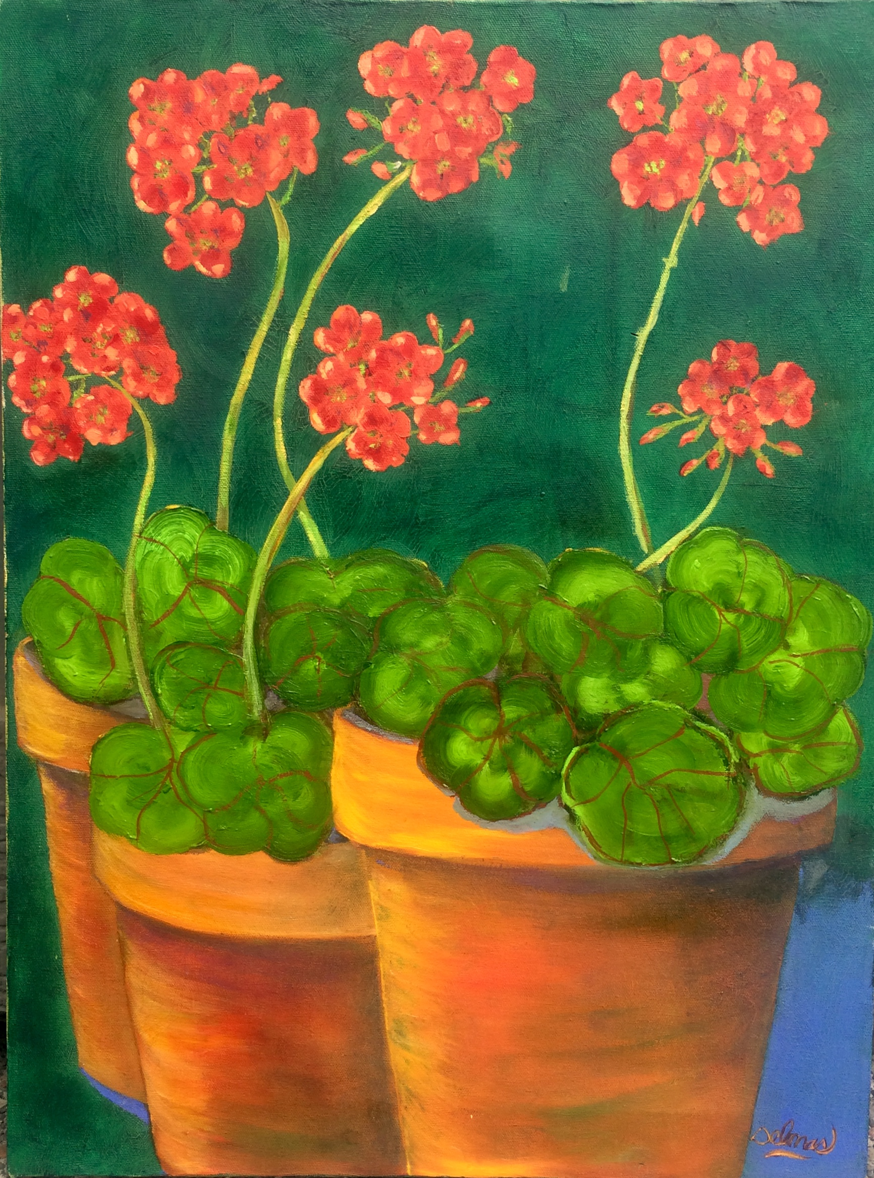 Geraniums in Clay Pots - 18 x 24 - Oil on Canvas - $375