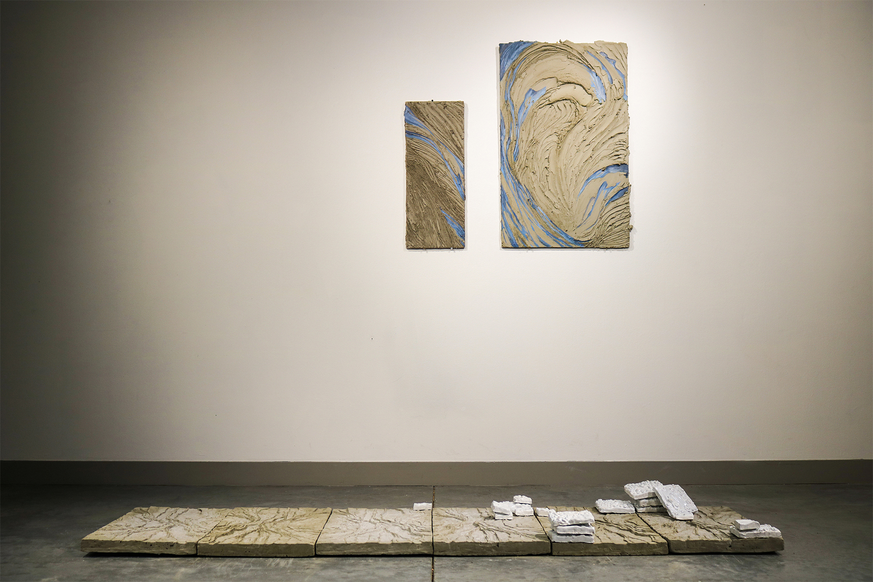 Alluvium - Oil Paint & Mortar on Backerboard, Cast Cement, Clay, Shellac - 2020